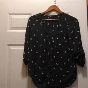Maurice's black white patterned bow blouse